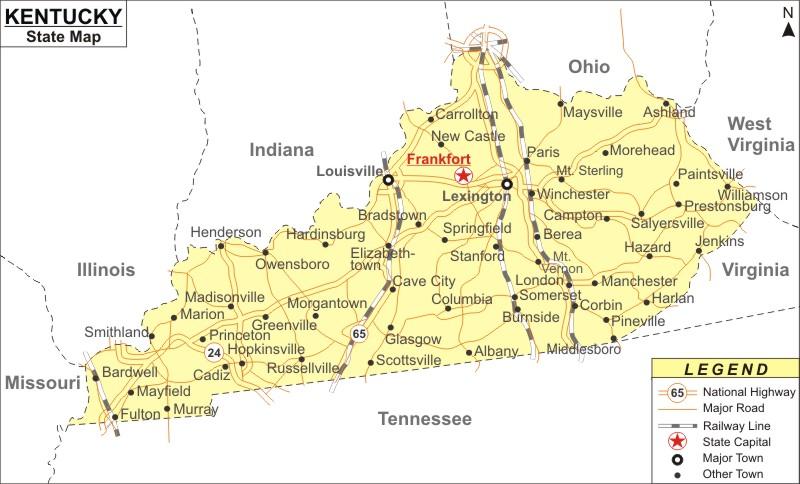 Map Of Kentucky With Cities Kentucky Map, Map of Kentucky with Cities, Road, River, Highways Map Of Kentucky With Cities