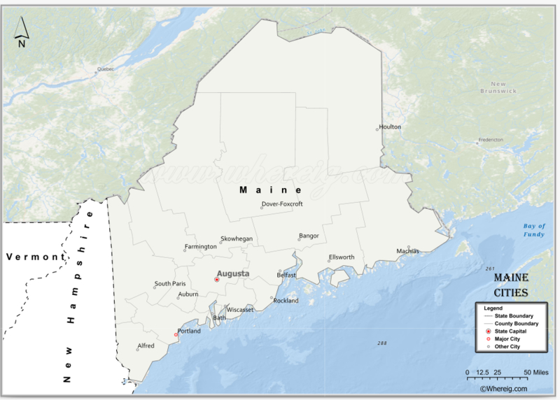 Map of MaineCities, List of Cities in Maine