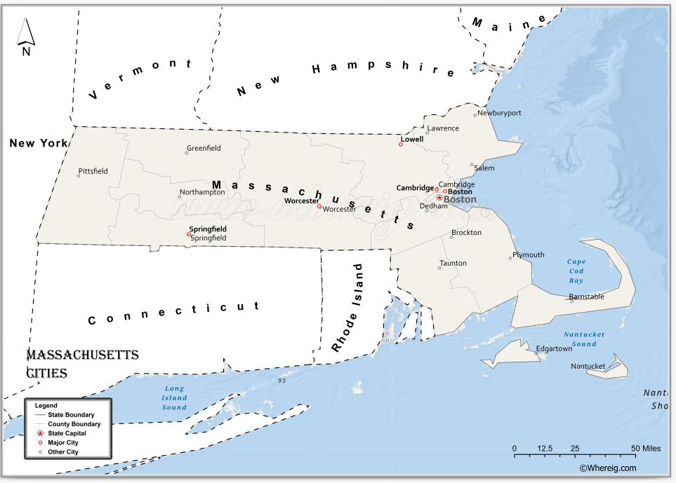 Map of Massachusetts Cities, List of Cities in Massachusetts
