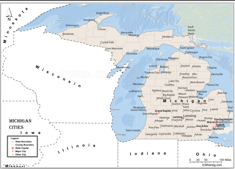 Map of Michigan Cities, List of Cities in Michigan