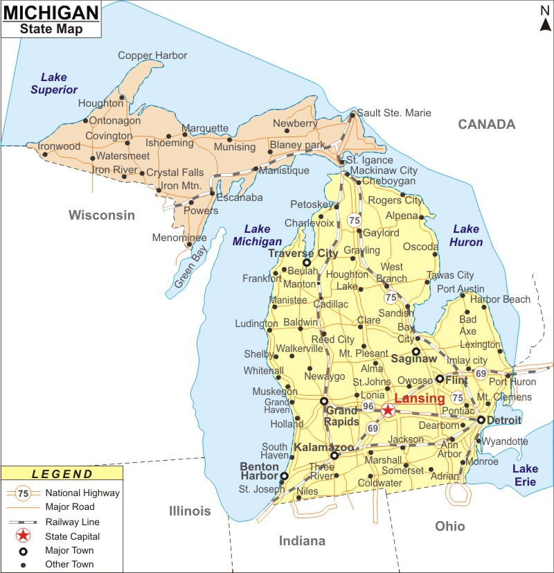 Michigan Map Map of Michigan Cities and Roads