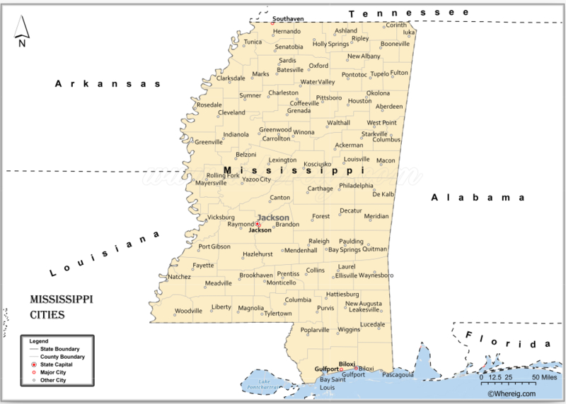 Map of Mississippi Cities, List of Cities in Mississippi