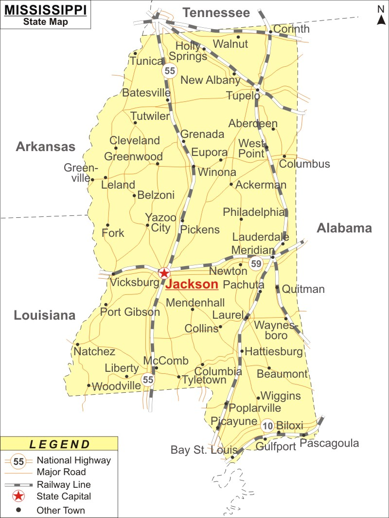 mississippi map with cities and towns Mississippi Map Map Of Mississippi State Usa Highways Cities Roads Rivers mississippi map with cities and towns