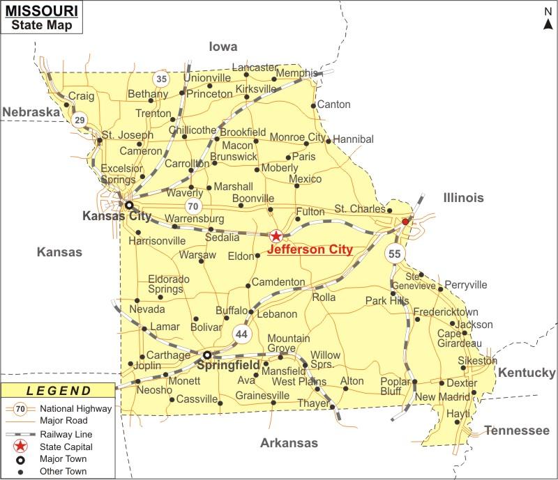 Missouri Map Map Of Missouri State Usa Highways Cities