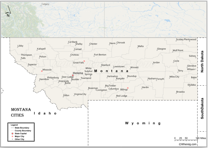 Map of Montana Cities, List of Cities in Montana
