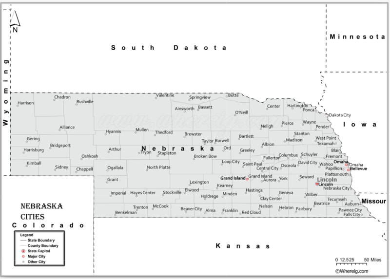 Map of Nebraska Cities, List of Cities in Nebraska
