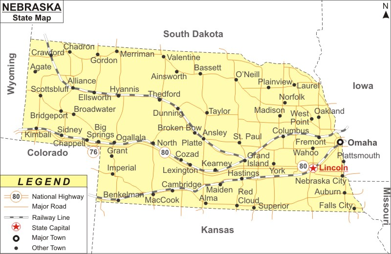 Nebraska Map Map of Nebraska Cities and Roads