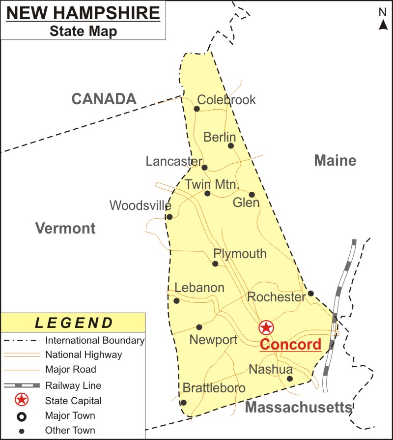 New Hampshire On Map Of Usa.New Hampshire Map Map Of New Hampshire With Cities Road River
