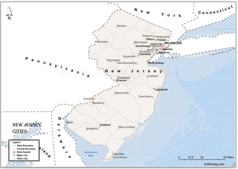 Map of New Jersey Cities, List of Cities in New Jersey