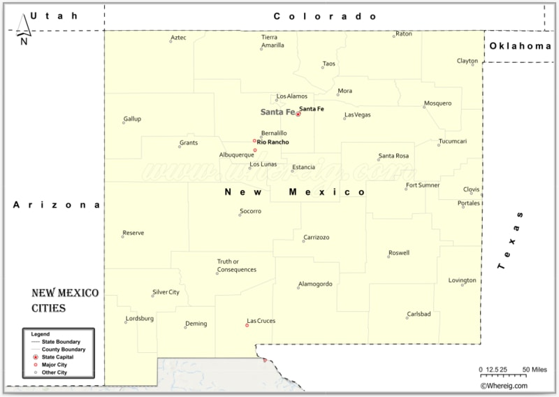 Map of New Mexico Cities, List of Cities in New Mexico