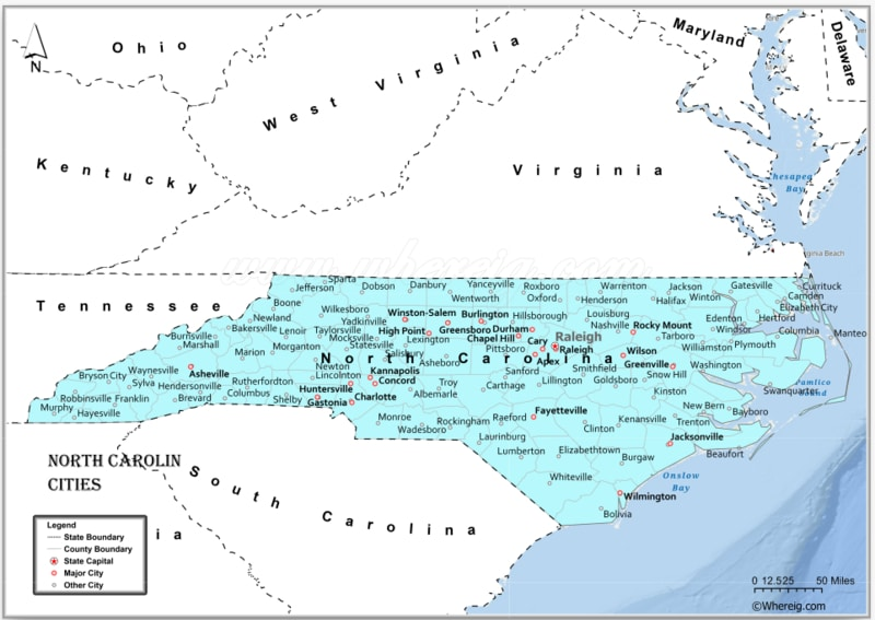 Map of North Carolina Cities, List of Cities in North Carolina