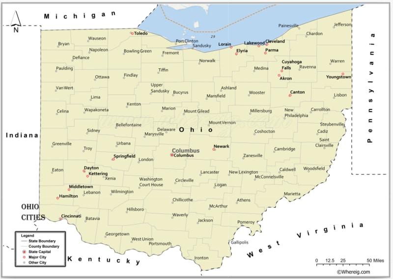 Map of Ohio Cities, List of Cities in Ohio