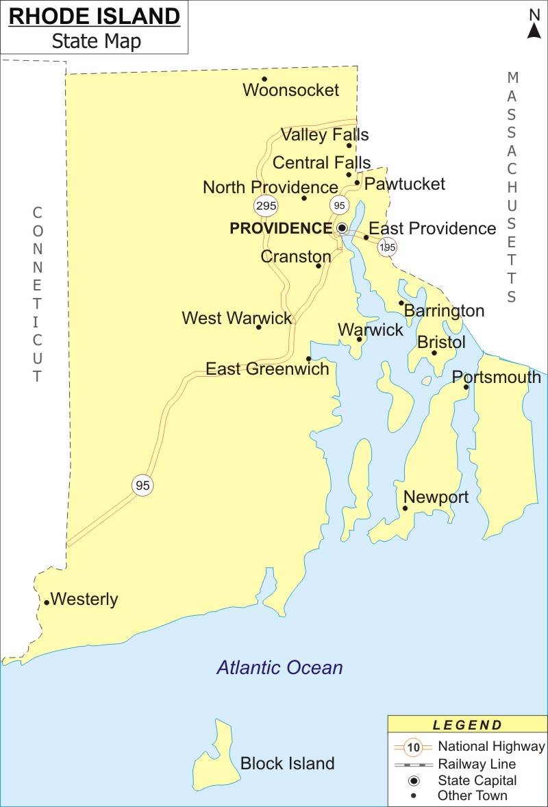 Rhode Island Map, Map of Rhode Island with Cities, Road ...