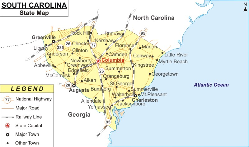 Map Of Georgia With Major Cities.South Carolina Map Map Of South Carolina With Cities Road River