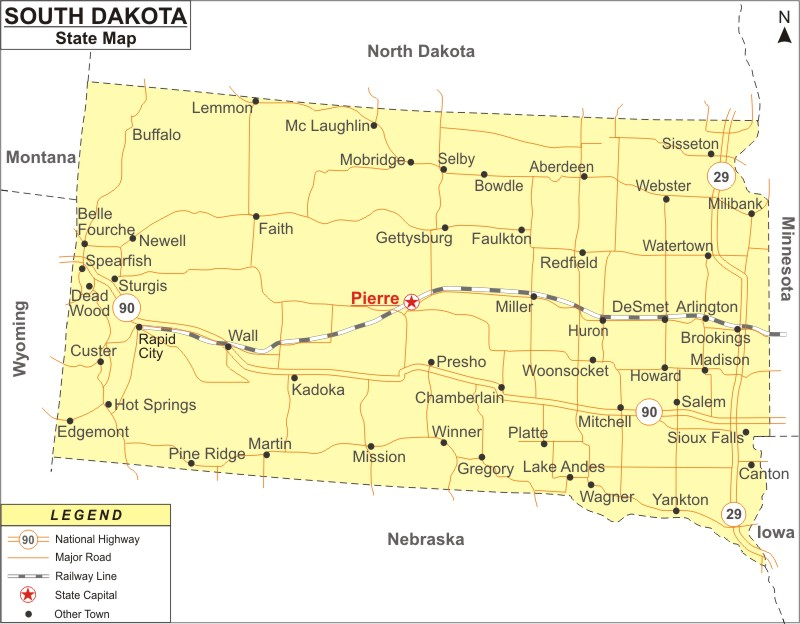 South Dakota Map, Map of South Dakota with Cities, Road ...
