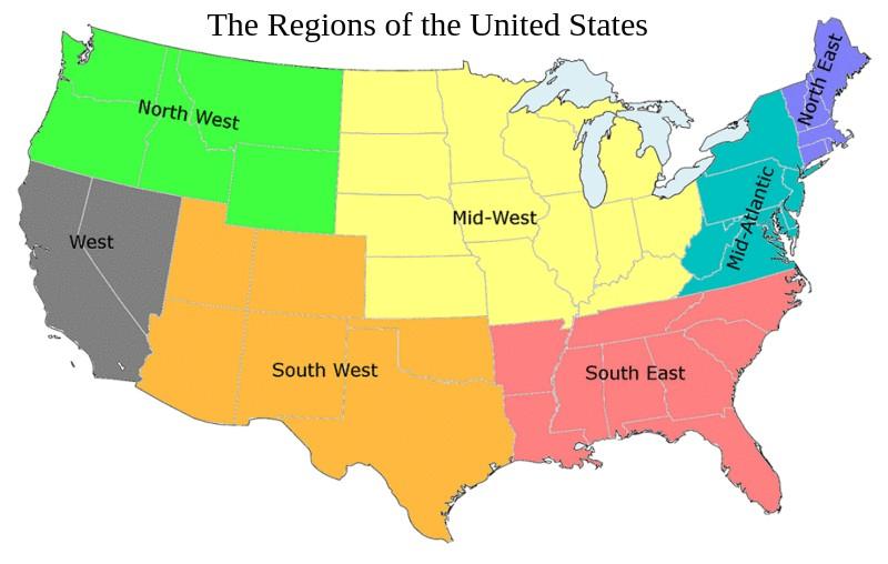 United States Regions Map