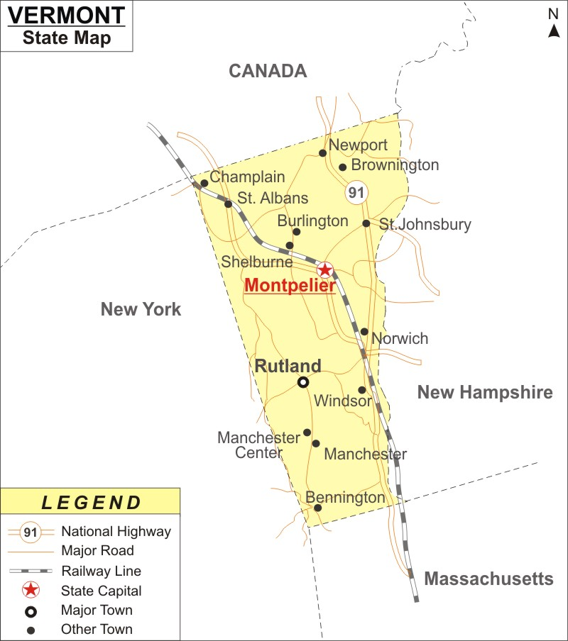 Vermont Map, Map of Vermont with Cities, Road, River, Highways