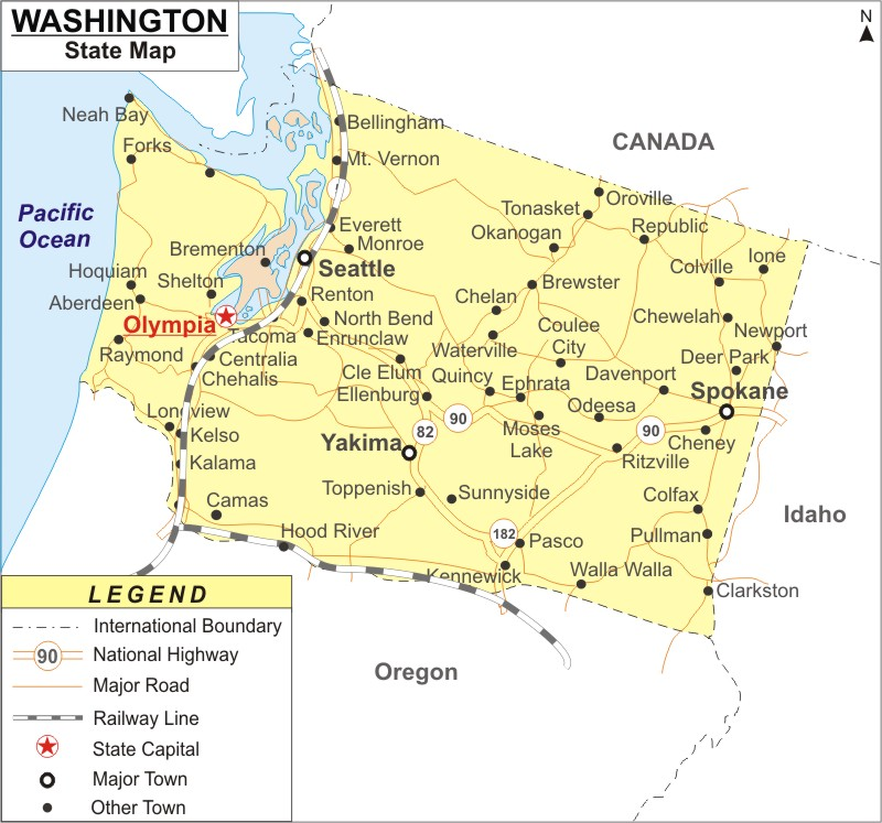 Washington Map Map Of Washington With Cities Road River Highways