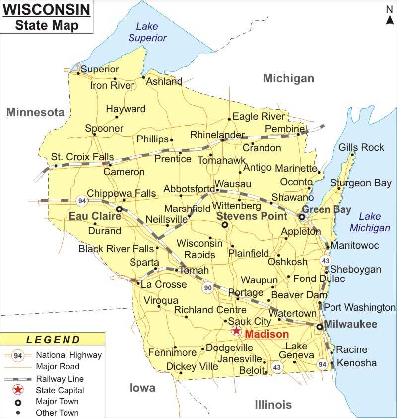 Wisconsin Map, Map of Wisconsin Cities and Roads