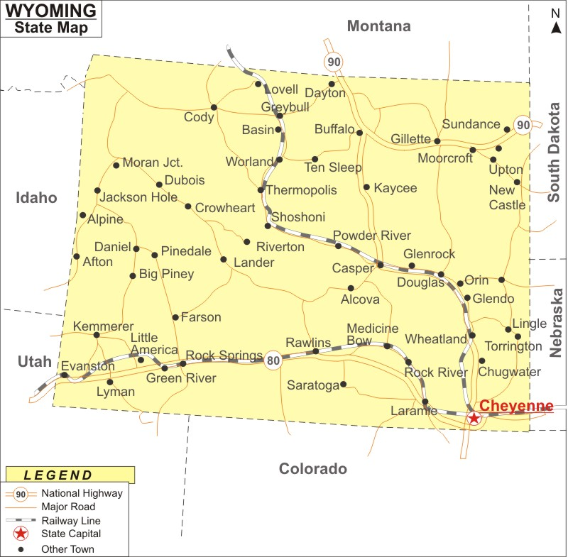Wyoming Map Map Of Wyoming Cities And Roads - Cities in wyoming map