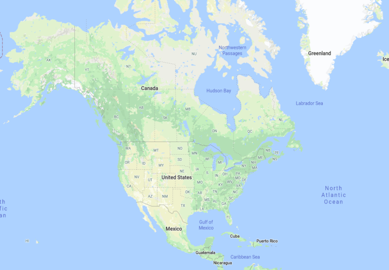 North American Countries and Capitals Map